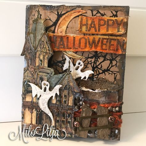 Not all art needs to big to make a statement. Milo Lilja is one of the artists who focus their creativity on small formats. She has two spooky mini art projects for you and a little ARTy treat at the end... Witch at the graveyard List of products used: Tattered Angels Calendar Kit Paint System - Haunted House Mixed Media Origins - Steampunk October Cord- Hemp Rope Hank - Orange - 45'...