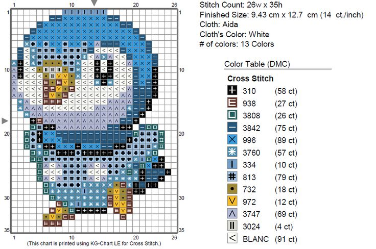 I want to make a DS case, and stitch on it a different Piplup than I've stitched before. I found this cute sprite and decided to turn it into a chart.