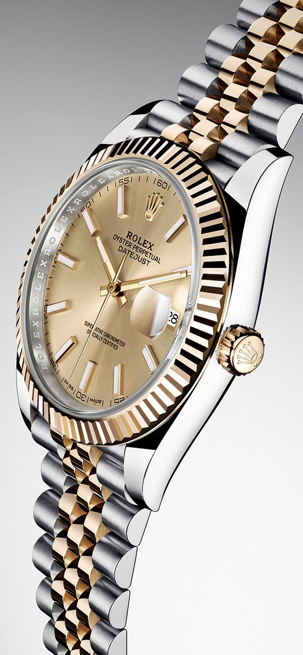 The Rolex Oyster Perpetual Datejust 41 in steel and yellow gold with a champagne dial and a five-piece link Jubilee bracelet.