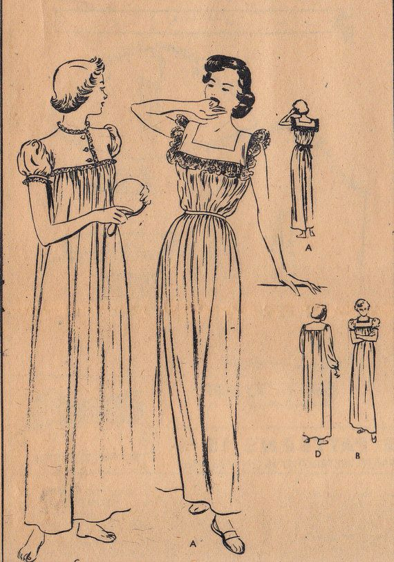 40s Long Nightdress Pattern Vogue 6661 by allthepreciousthings