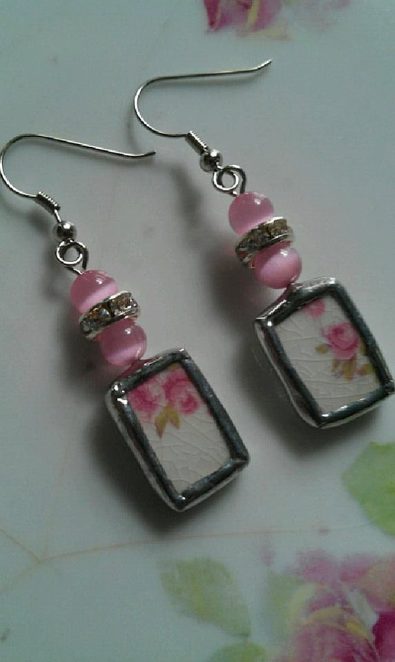 Pink Floral Broken China Beaded Earrings by Mysticglassduo on Etsy, $21.00