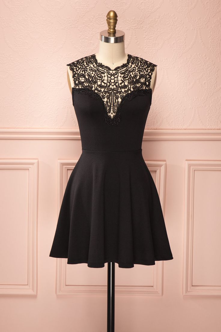 Ciara - Black circle skirt dress with lace neckline
