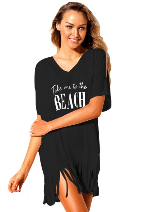 9bcf54cea5 Black Loose Fit Take me to the BEACH Cover up in 2019 | Beachwear ...