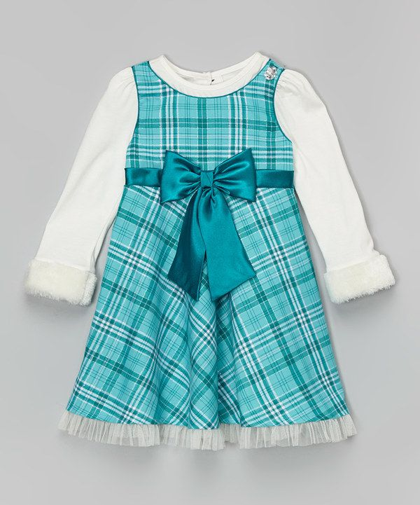 Look at this Blue Plaid Bow Dress