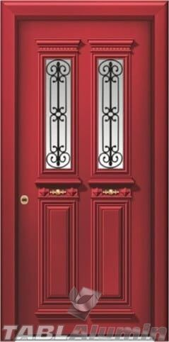 Πόρτα έτοιμη προς τοποθέτηση, για κύρια είσοδο πολυκατοικίας, παραδοσιακή πόρτα αλουμινίου, με τζάμι, με χυτά διακοσμητικά, ΑΠΟΣΤΟΛΗ ΣΕ ΟΛΗ ΤΗΝ ΕΛΛΑΔΑ.