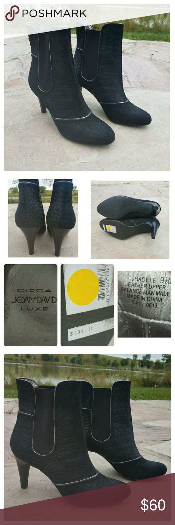 """Circa Joan David Luxe Heeled Ankle Boots New with tags. Black with silver piping detail. Croc embossed.  Heel approximately 3"""". Boot shaft 6"""". Opening circumference 11"""". Joan & David Shoes Ankle Boots & Booties"""