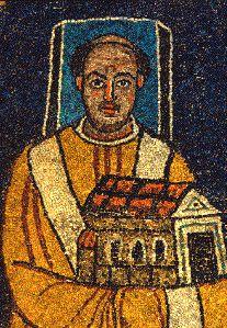 Papa Pascual I representado con un halo cuadrado, lo que indica que se encontraba vivo. Hacia el 820, Basílica de Santa Práxedes, Roma.