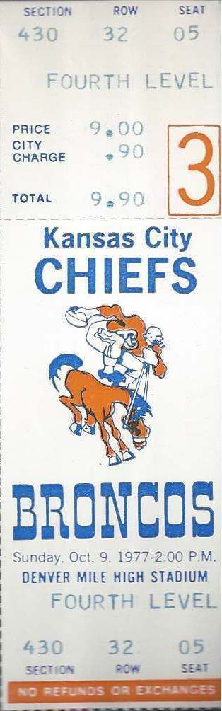 1977 NFL Chiefs Broncos Full Unused Football Ticket Super Bowl Season | eBay