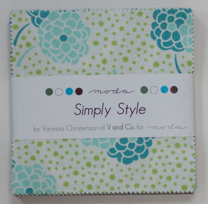 Simply Style Charm Square - Two (2) - Moda quilting fabric by V and Co.. $17.50, via Etsy.