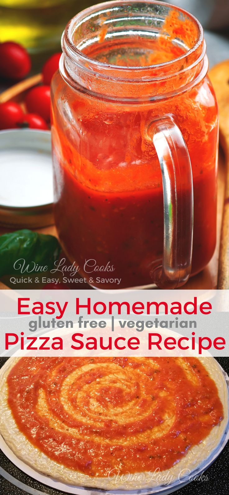 Easy Homemade Pizza Sauce Recipe to top homemade pizza. Click thru for easy recipe. #homemade #pizza #sauce #easyrecipe