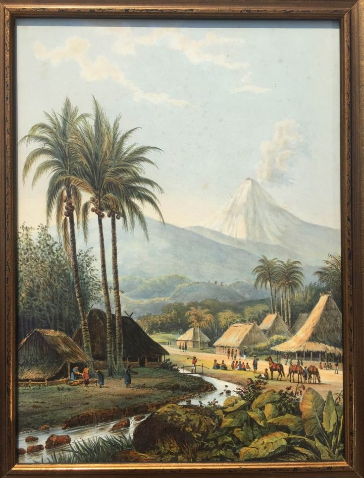 De Smeroe volcano, mountains of Ijang, East Java ( Abraham Salm 1872 ) A very fine mid-19th century Dutch chromolithograph of a village in the moutains of Ijang, East Java, in the back ground vulcano Smeroe, by...