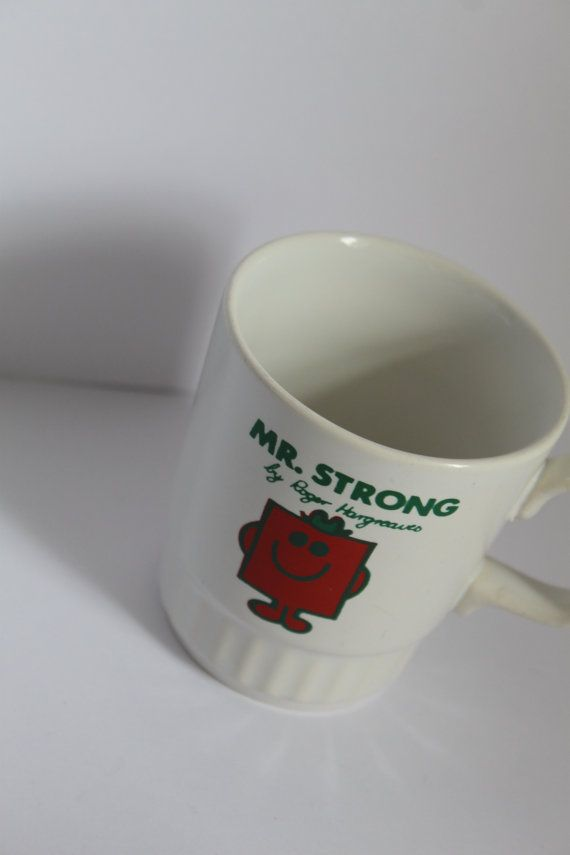 Mr Men Mr Strong Red and White Mug Illustrated by by AtticBazaar