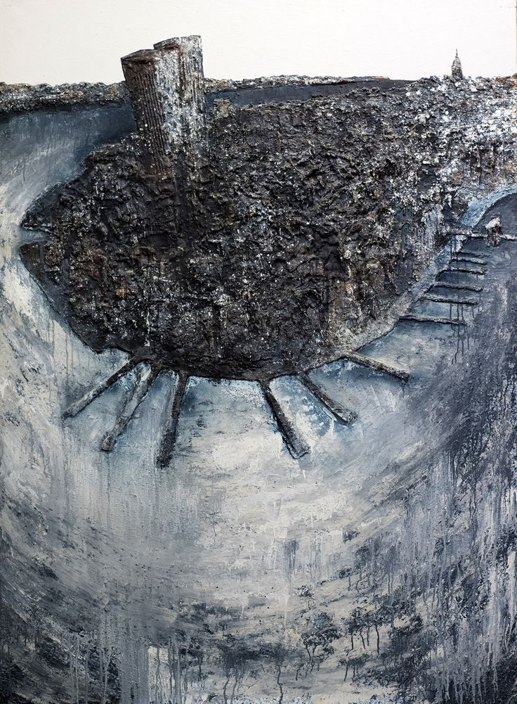 """Picture: """"Manhattan"""". Dimensions: 145 cm (W) x 195 cm (H). Mixed technique: latex, cardboard, sand, pigments, acrylic paint on canvas support."""