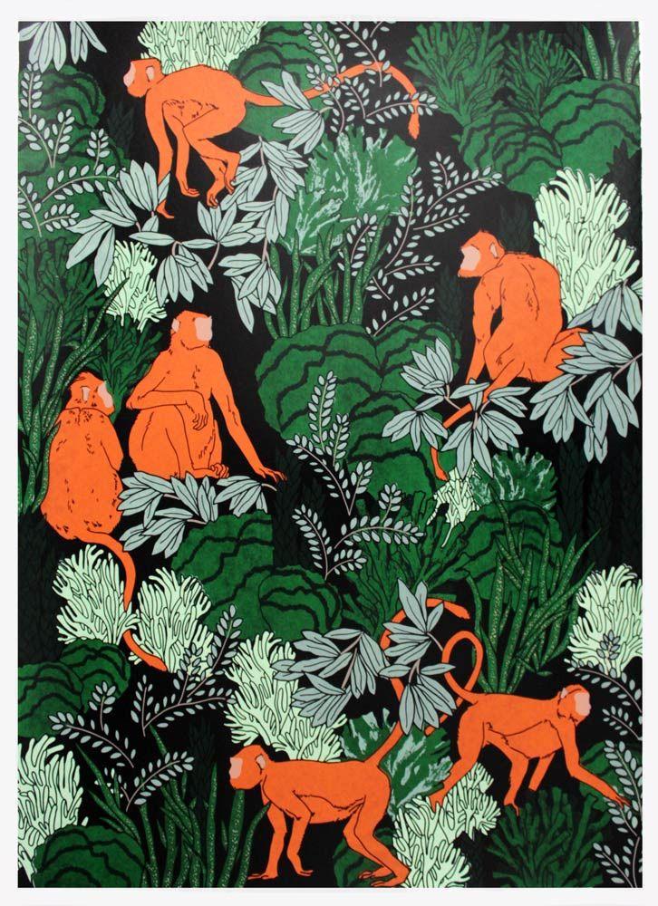 Claudia Borfiga Langur Monkeys Print Club London