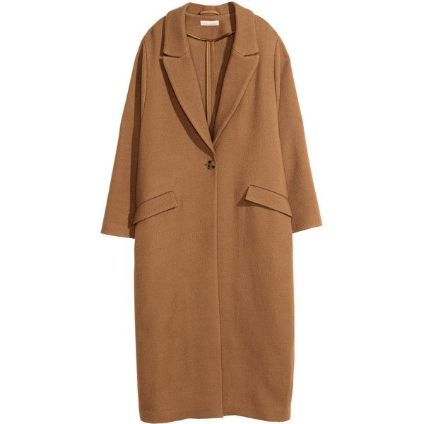 H&M Twill coat in a wool blend (£120) ❤ liked on Polyvore featuring outerwear, coats, h&m, camel, brown coat, camel coat, h&m coats and calf length coat