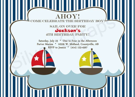 Nautical Landscape with Sailboats. Custom Birthday Party Invitation - Navy Blue, Aqua, Red, Yellow, White - 5 Designs Available (Printable)