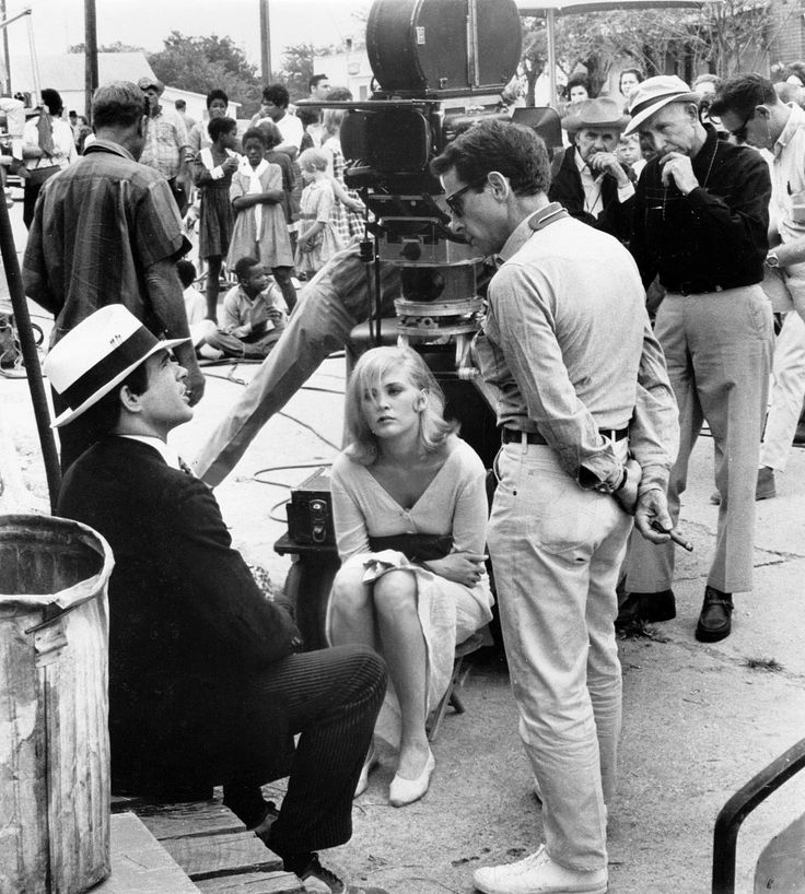 Warren Beatty and Faye Dunaway with director Arthur Penn on the set of Bonnie and Clyde, Texas, 1967