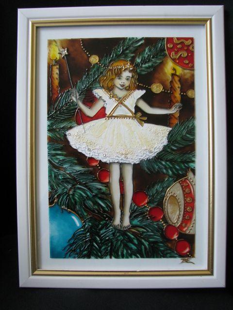 Karácsony tündére  - festett üvegkép, üvegfestmény www.asterglass.hu Burján Eszter 'Aster' üvegfestő művész