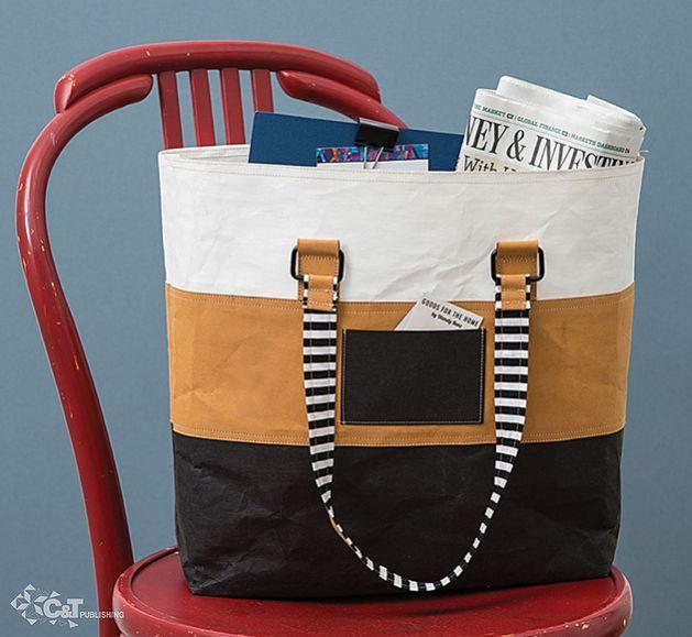 Tote bag made with kraft•tex™ black Kraft Paper Fabric