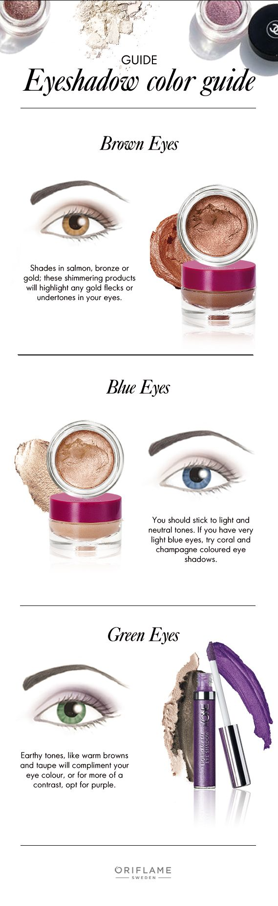 Brown, blue and green. Every colour is beautiful And with this eyeshadow guide, you'll know exactly which colours really bring out your natural eye shade.