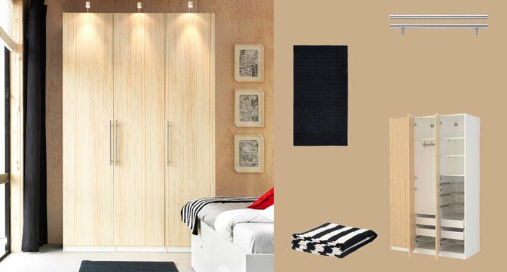 Pax White Wardrobe With Oksvoll Pine Veneer Doors Home