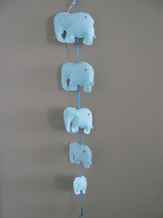 Baby Blue Elephant Mobile available at www.etsy.com/lizziedoodlesnz