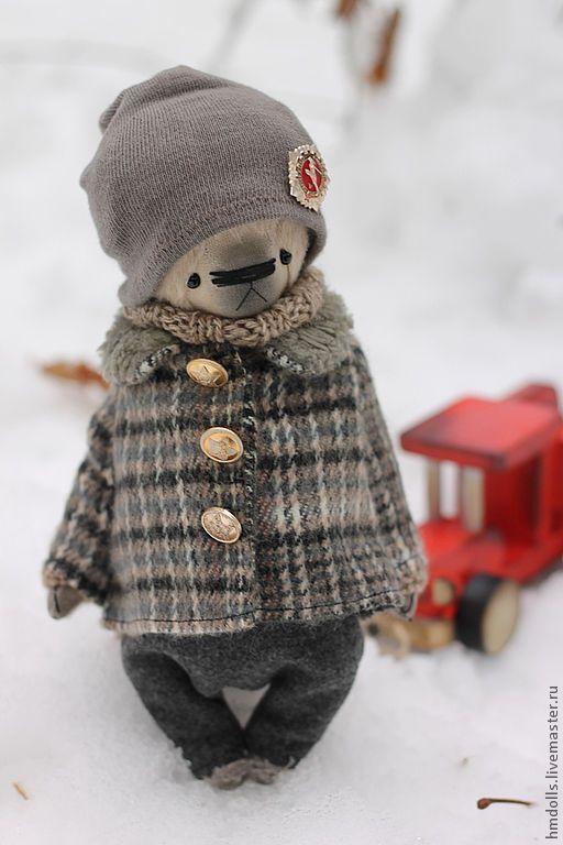 Купить Треугольник....... Серёжка - бежевый, мишка, тедди, авторский мишка, ретро мишка, ретро, СССР