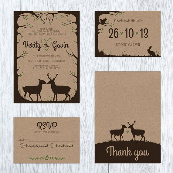 Woodland Deer & Stag Rustic Printable Wedding von Paperling auf Etsy, $45.00