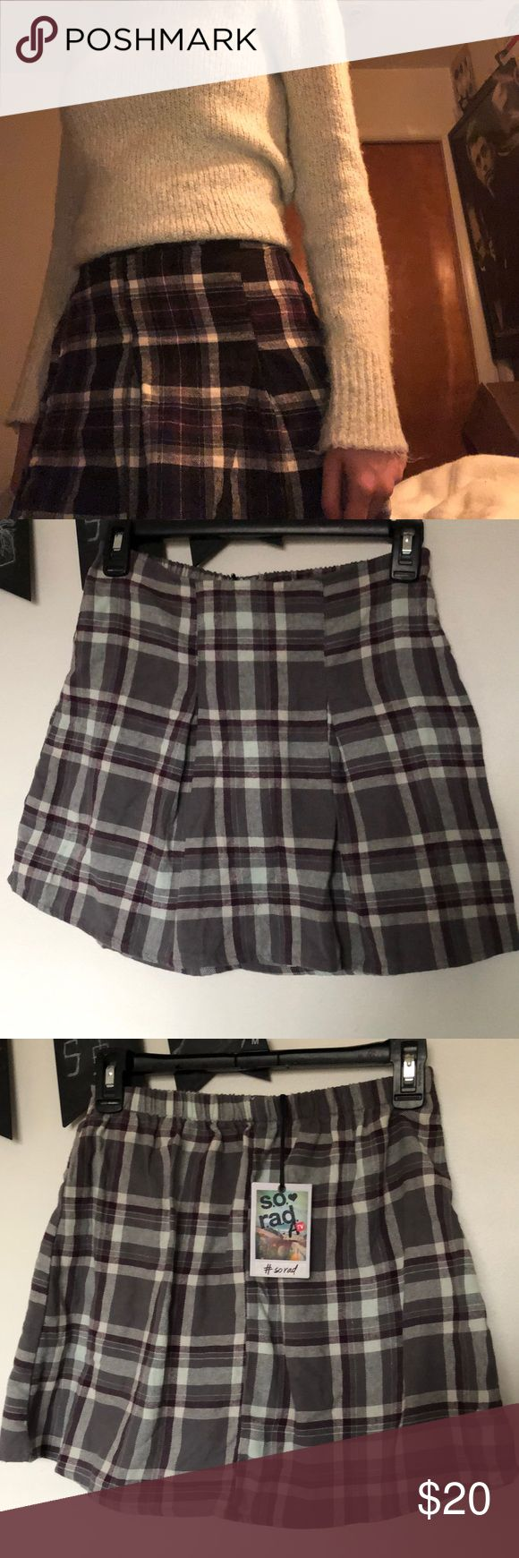 Grey plaid cotton skirt Grey and violet plaid cotton skirt- can be worn high waisted or normally: size XS s.o. r.a.d. by A tv Skirts Mini