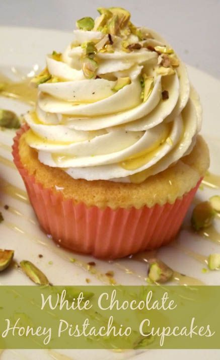 White Chocolate Cupcakes With Honey Pistachio Frosting                                                                                                                                                                                 More