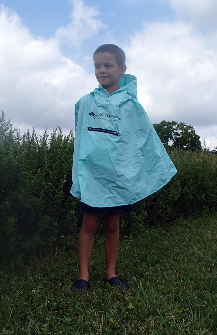 Roo Rain Gear waterproof poncho, made from recycled plastic bottles.  A great christmas gift for the active kid on your list.