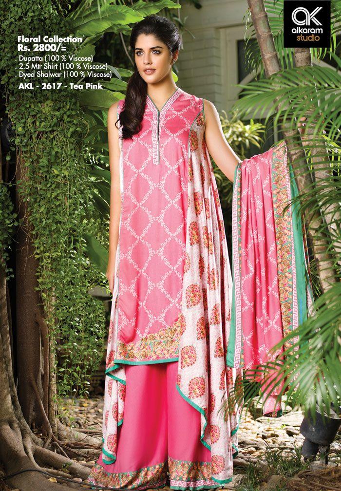 AKL 2617 - Tea Pink  Rs. 2800/- Dupatta (100 % Viscose) 2.5 Mtr Shirt (100 % Viscose) Dyed Shalwar (100 % Viscose)  www.alkaramstudio.com