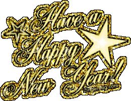 Happy New Year Golden Glitter Glitter Graphic, Greeting, Comment, Meme or GIF