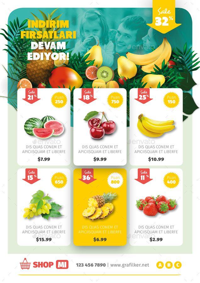 Supermarket Products Flyer Templates Supermarket Design Food Graphic Design Catalog Design Layout