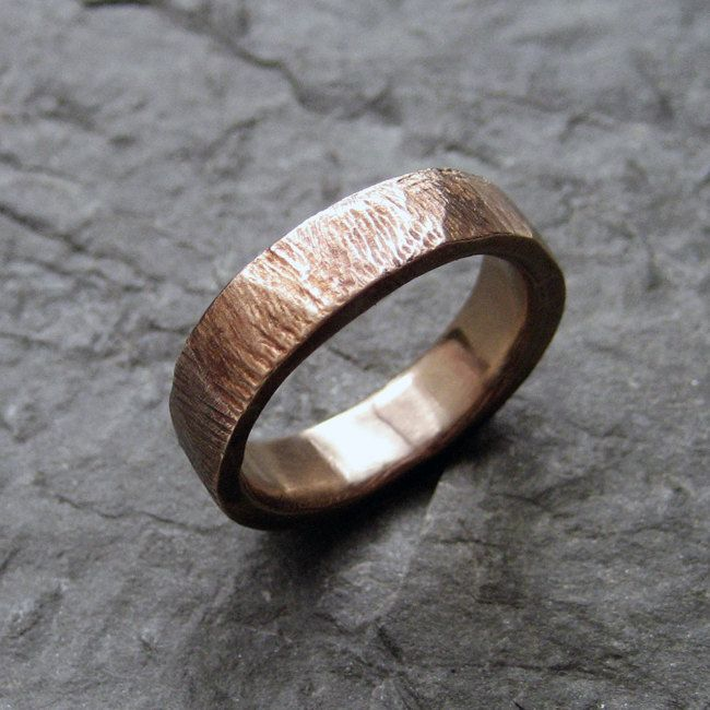Bronze bark rustic wedding ring, textured rustic ring, alternative weding band, made to order in your size. $76.00, via Etsy.