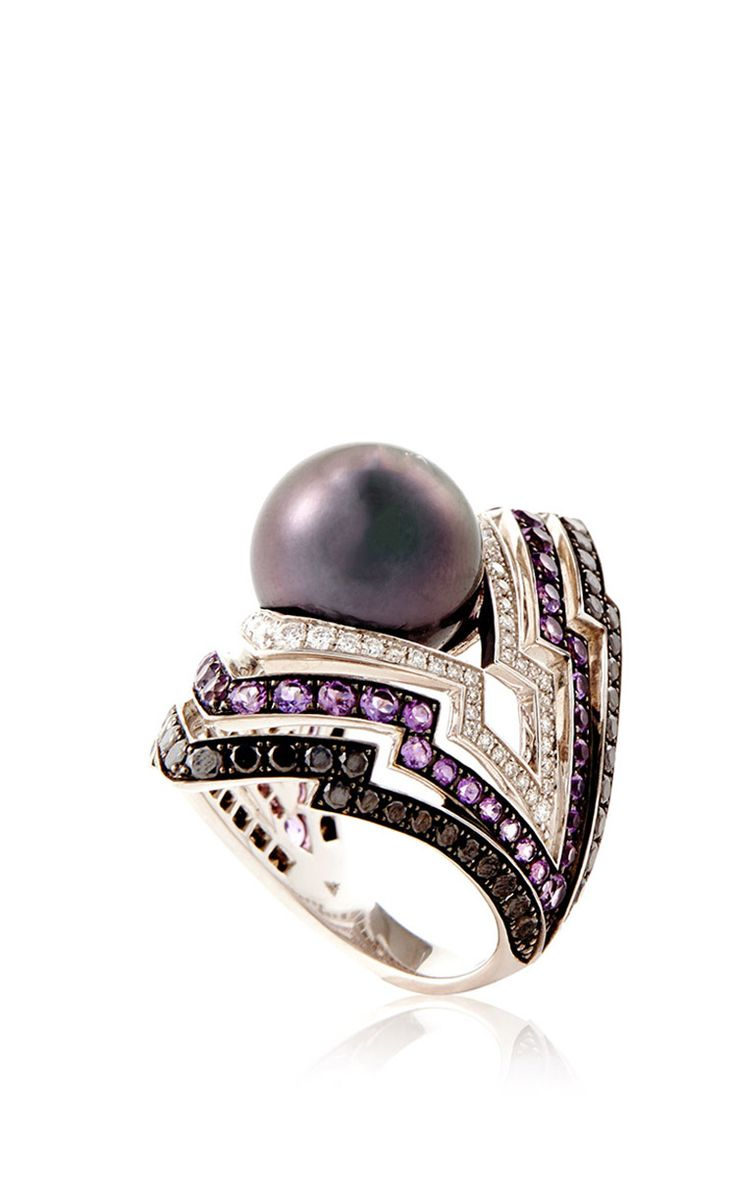 White Gold Tahitian Pearl Ring by Stephen Webster