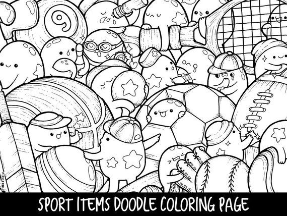 Sport Items Doodle Coloring Page Printable Cute Kawaii Coloring Page For Kids And Adults Doodle Coloring Coloring Pages Coloring Books