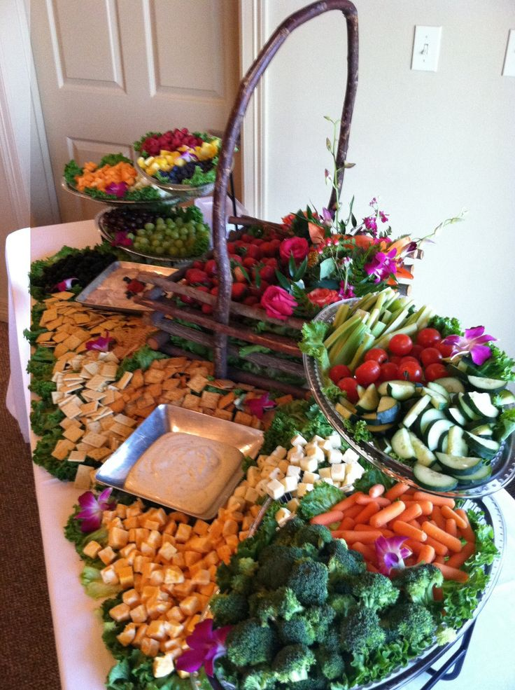 What a great combination of tiered servers, wicker baskets and gorgeous food! This is great for catering or home parties!
