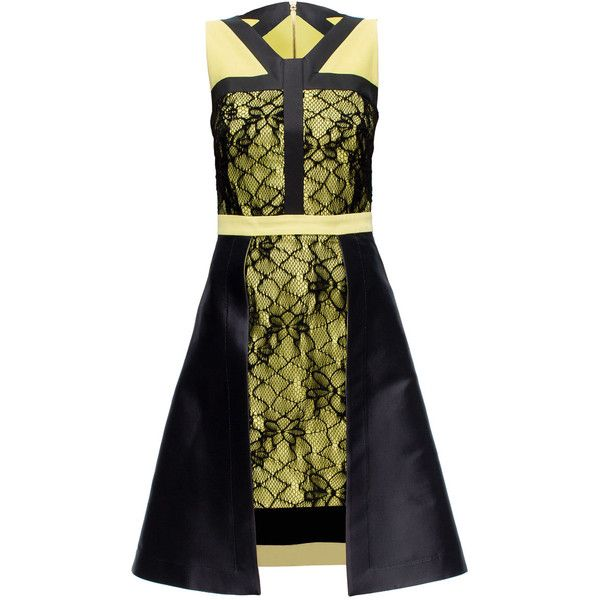 LATTORI Yellow Dress with Black Lace (£345) ❤ liked on Polyvore featuring dresses, lattori, lace cocktail dress, yellow lace dress, lacy black dress, lace dress and black dress