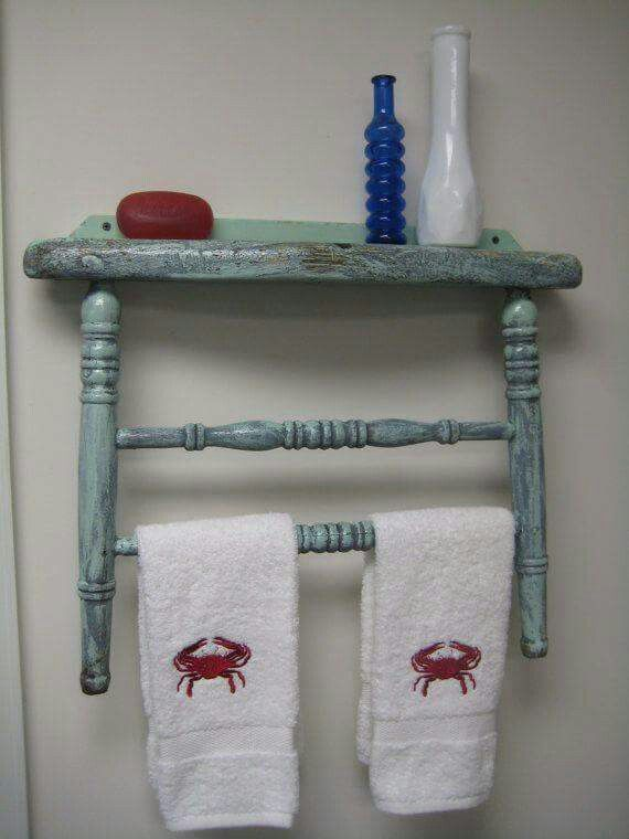 Old chairs become unique towel racks
