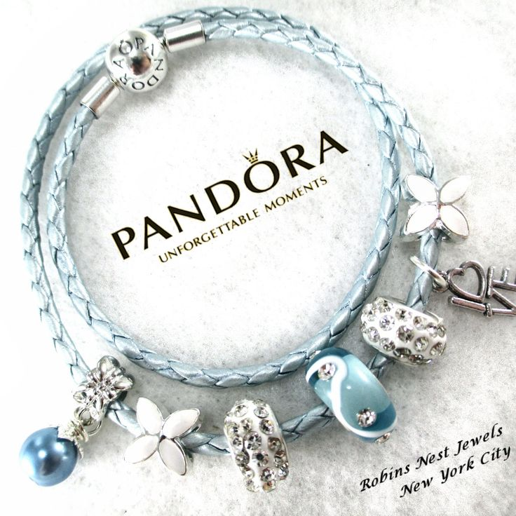Authentic Pandora, Pandora Bracelet, Leather Bracelet, Light Blue, Genuine Pandora, Pandora Leather Wrap,with Non Branded Beads/Charms HP3 by RobinsNestJewels on Etsy
