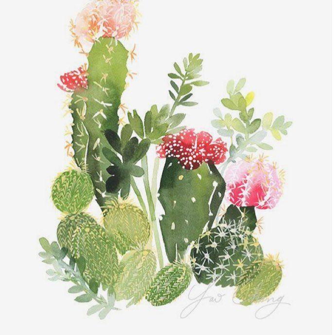 Who else is already ready for spring?! We love this print by @yaochengdesign - inspiration for our spring pillows coming! 🌵