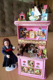 Puppenhaus, Puppenstube, Miniaturen, Display in Miniatur, dollhouse miniatures, miniature displays, Diorama in Miniatur, Puppen-Theater, doll theater, theatre, Der Wolf und die sieben Geißlein, Geschichten,Gebrüder Grimm, stories, histoires, the wolf and the seven young kids,