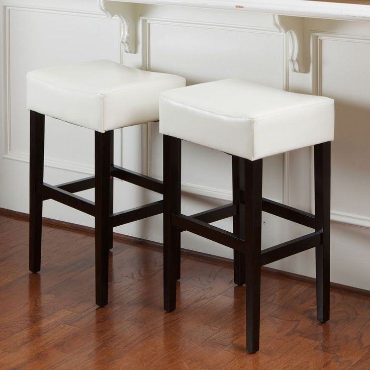 lopez ivory bonded leather backless bar stools set of by christopher knight home white leather backless barstool