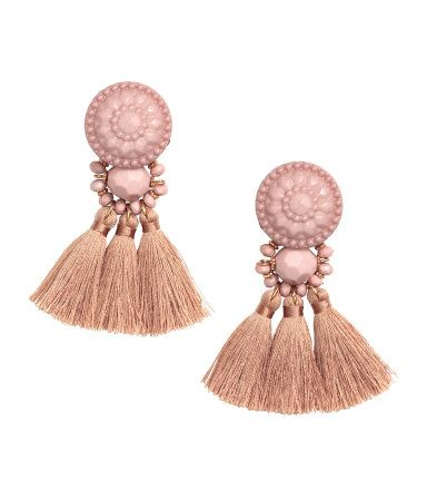 Powder. Earrings with plastic beads and tassels. Length 3 1/4 in.
