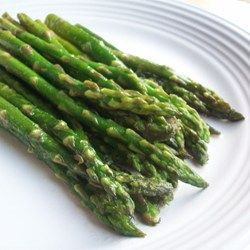 Pan-Fried Asparagus Allrecipes.com   Add the garlic the last few minutes so it doesn't burn.  Cut salt back to 3/4 tsp.  I used 2 Tbls. of butter with 1 Tbls. olive oil for 1 lb. of asparagus (cut back amount of butter and olive oil for regular recipe). When the color starts to just fade its done