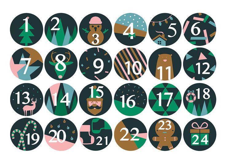 24 chiffres autocollants pour calendrier de l'Avent - Achat / Vente