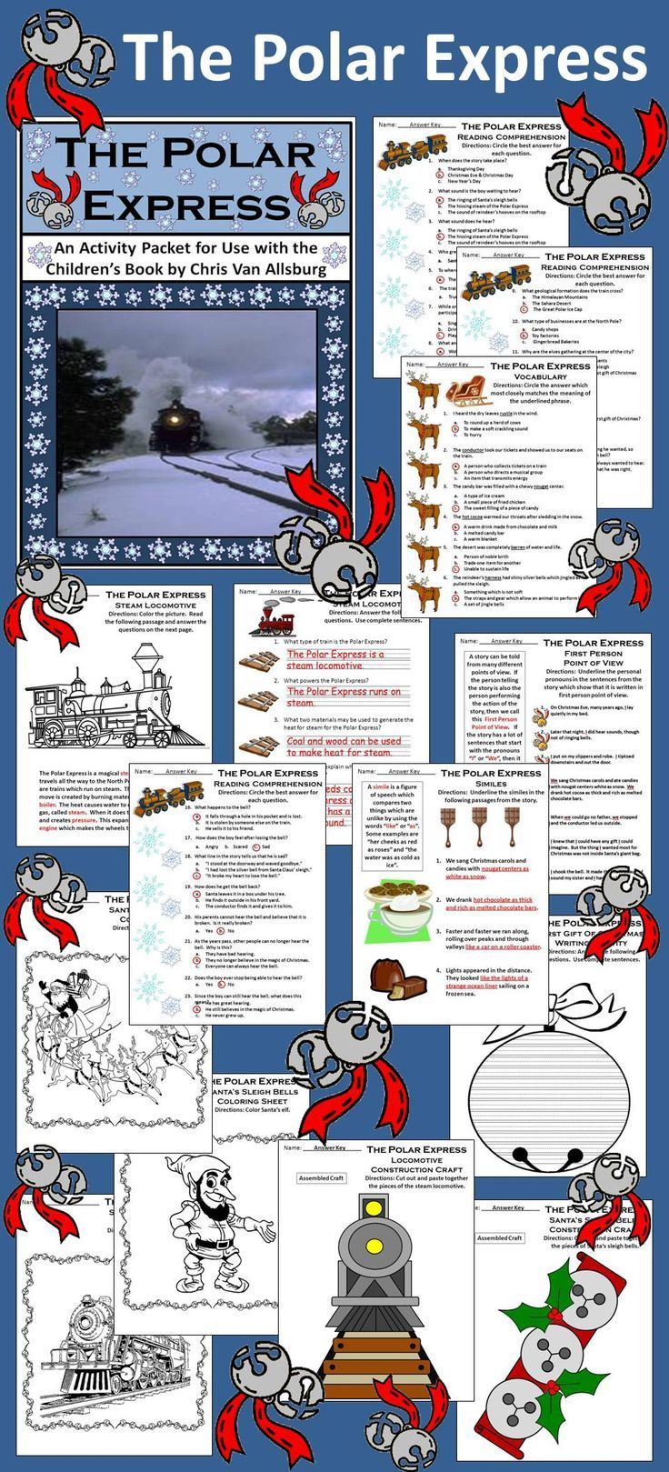 Polar Express Activity Packet An activity packet which complements the book, The Polar Express, by Chris Van Allsburg.   Contents include: * Reading comprehension quiz * Vocabulary worksheet * First-person point-of-view worksheet * Simile worksheet * Steam locomotive reading passage & coloring and comprehension worksheet * First Gift of Christmas writing activity * Steam Locomotive construction craft * Sleigh Bells construction craft * Answer keys