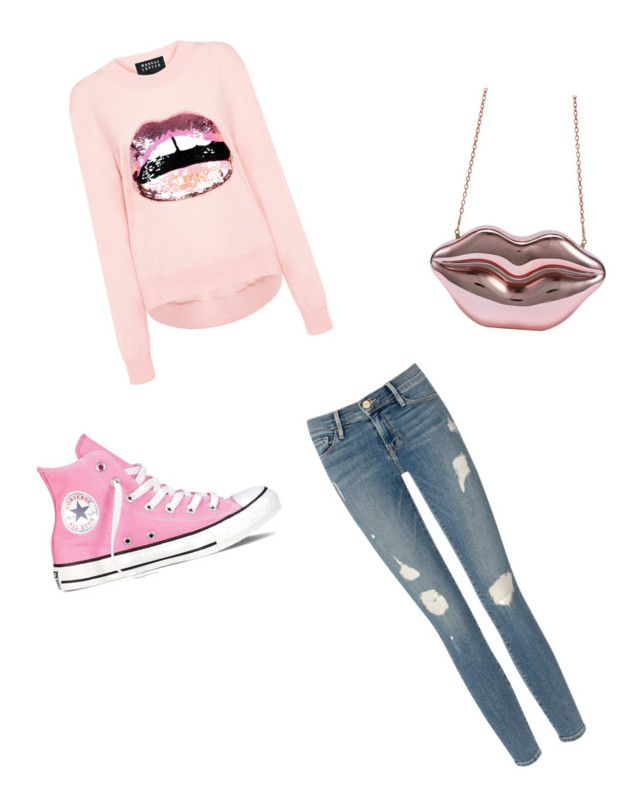 """""""If your lips are movin then you love this outfit"""" by meenypie ❤ liked on Polyvore featuring Frame Denim, Markus Lupfer and Converse"""