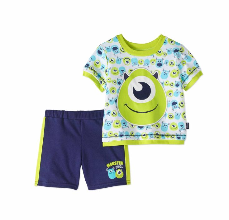 """Monsters, Inc. Baby Boys' T-Shirt and Knit Shorts 2-Piece Outfit Set. Your little monster will love this fun & comfy set. The short sleeve tee has an adorable all over monster pattern and an embroidered Mike Wazowski applique, while the soft shorts have a Mike & Sulley """"Monster Cool"""" graphic on front with side stripes in a hassle-free pull-on style with a covered elastic waistband for a snug fit. So cute, it's scary! #DisneyBaby #MonstersInc #MikeWazowsi #Sulley"""